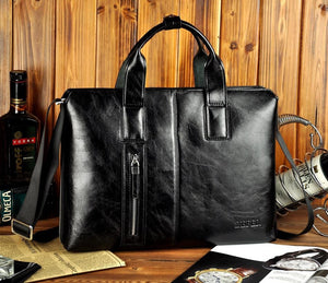 Open image in slideshow, Contemporary Fast-Forward Leather Briefcase