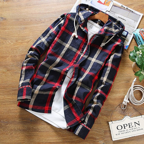Contemporary Plaid Hooded Flannel Shirt