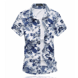 Open image in slideshow, Azure Floral Short-Sleeved Shirt