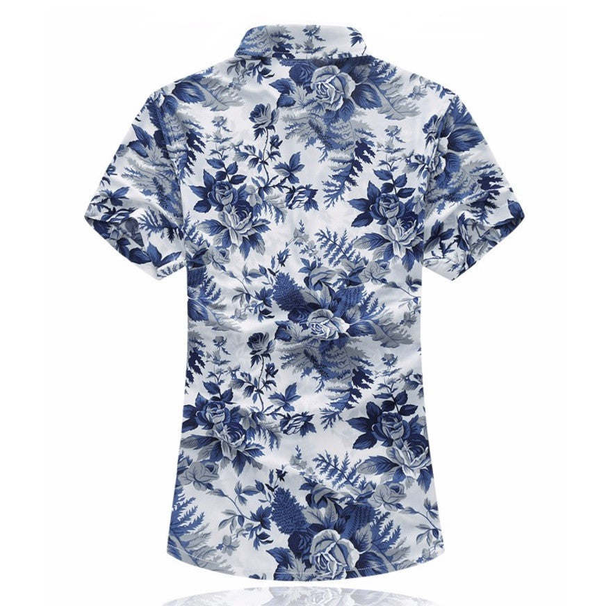 Azure Floral Short-Sleeved Shirt