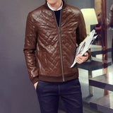 Contemporary Quilt-Patterned Leather Jacket