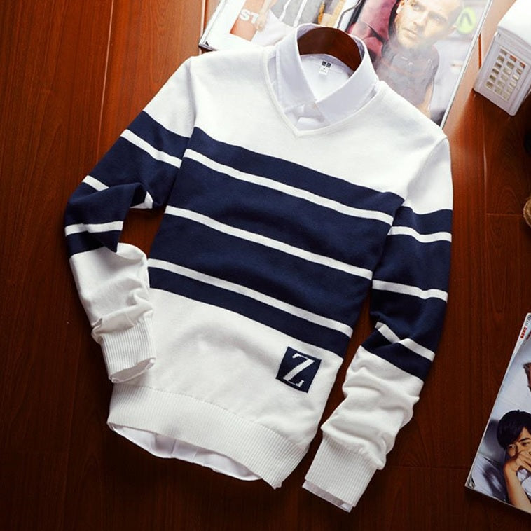 New-Age Striped Casual Sweater