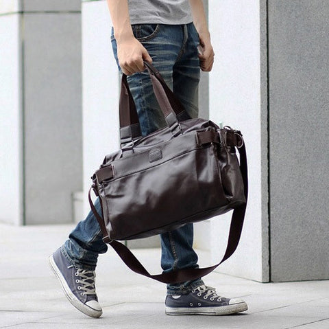 Contemporary Versatile Leather Duffel Bag