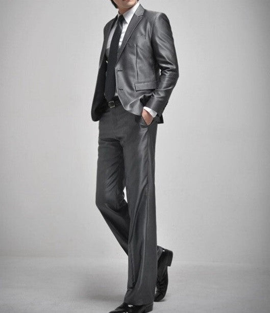 2-Button Silver Gray Suit Set (Jacket + Pant)