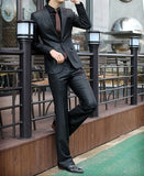 1-Button Shiny Black Suit Set (Jacket + Pant)