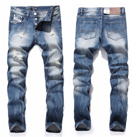 Denim Washed-Out Faded Jeans