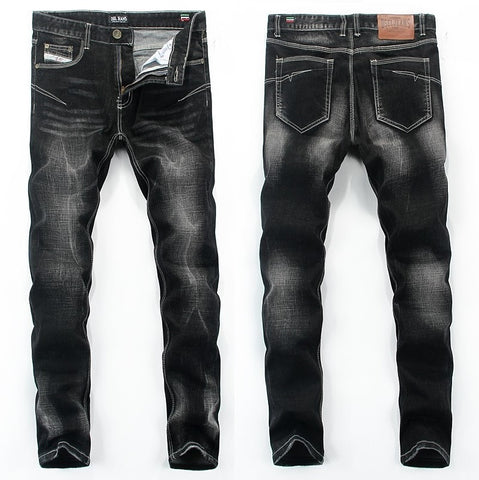 Contemporary Textured Slim Black Jeans