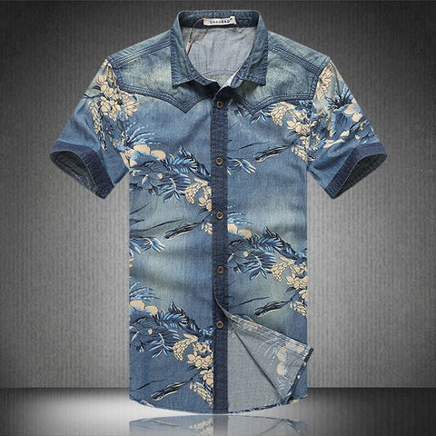 Agora Floral Denim Casual Shirt