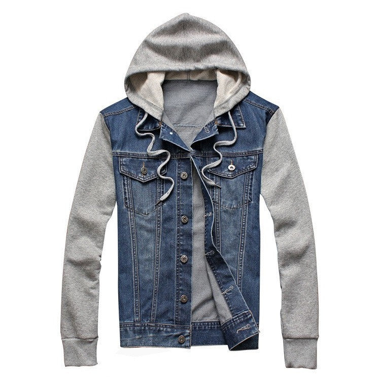 Denim Patched Casual Hooded Jacket