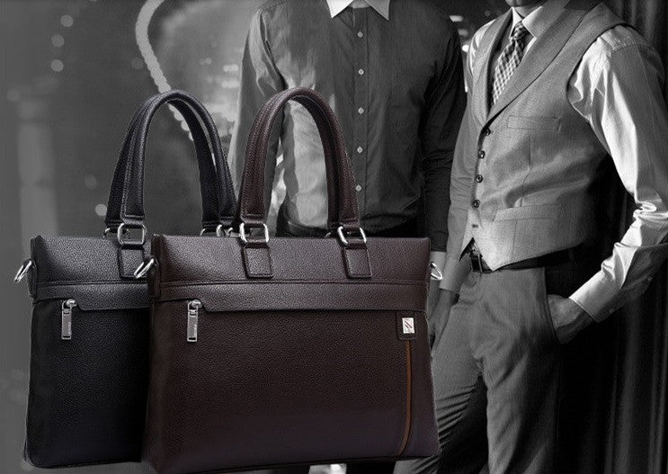 Ingrained Leather High-Handle Men's briefcase
