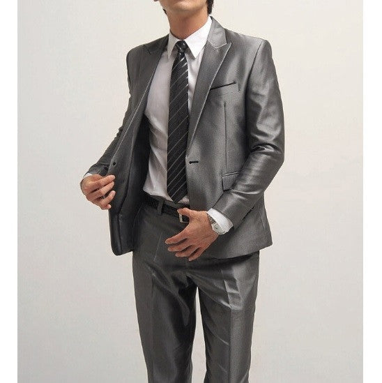 1-Button Silver Gray with Side-Cut Suit Set (Jacket + Pant)