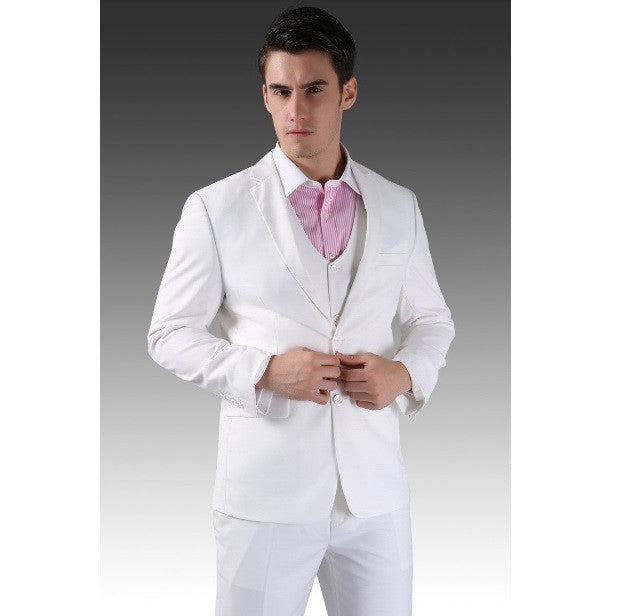 4-piece Standard 2-Button Formal Full Suit set (Jacket, Pant, Vest & Tie)