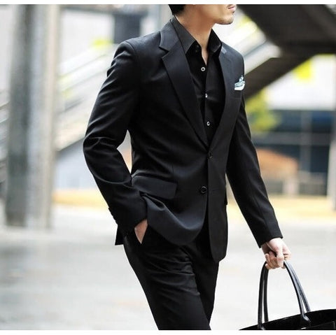 2-Button Matt Black Suit Set (Jacket + Pant)