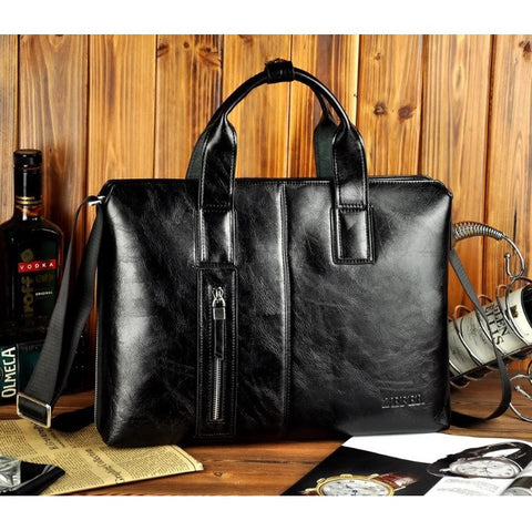 Contemporary Fast-Forward Leather Briefcase