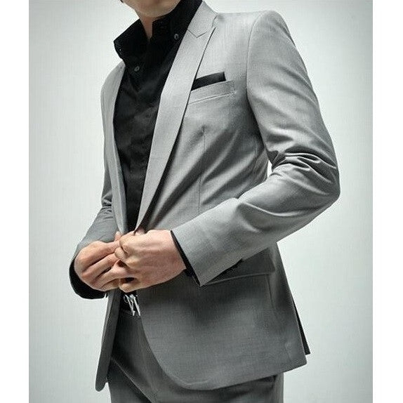 1-Button Light Gray Suit Set (Jacket + Pant)
