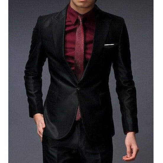 1-Button Shiny Black Suit Set (Jacket & Pants)
