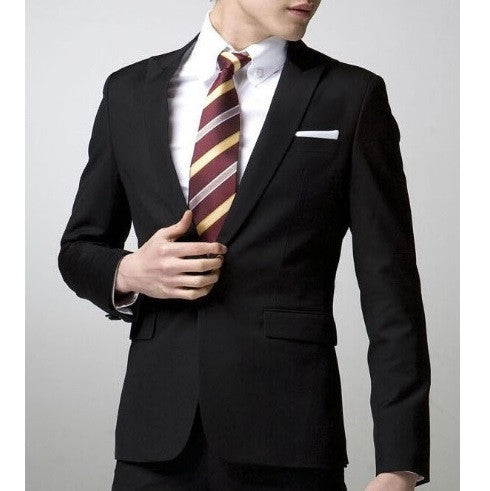 1-Button Matt Black Sword Collar Suit Set (Jacket + Pant)