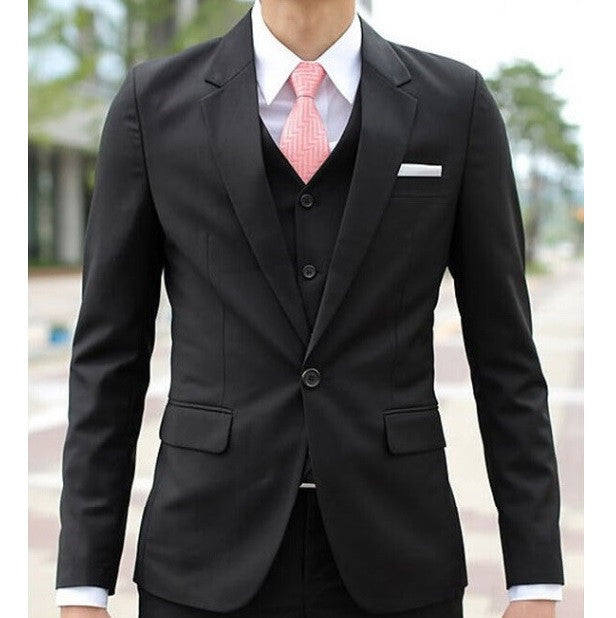 1-Button Matt Black Flat Collar Suit Set (Jacket + Pant)