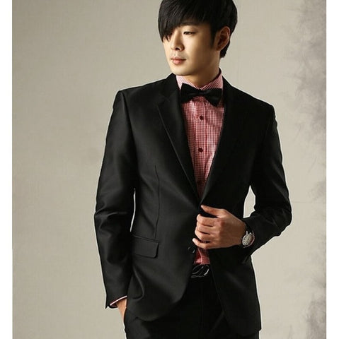 2-Button Shiny Black Suit Set (Jacket + Pant)
