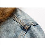 Fur-Collared Urban Denim Jacket