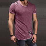 Contemporary Ripped Hole Casual T-Shirt