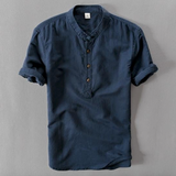 Contemporary Vintage-Collared Linen Shirt