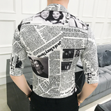 Contemporary Newspaper Dress Shirt