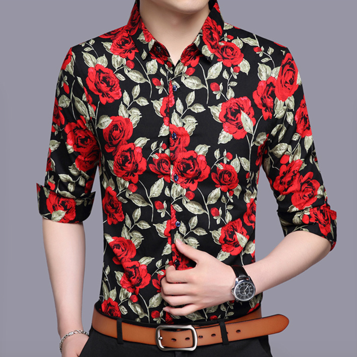 Rose Floral Casual Dress Shirt