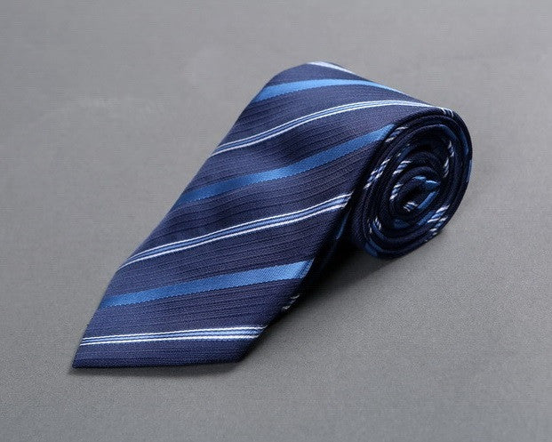 Bleu-on-Blue Striped Neck Tie