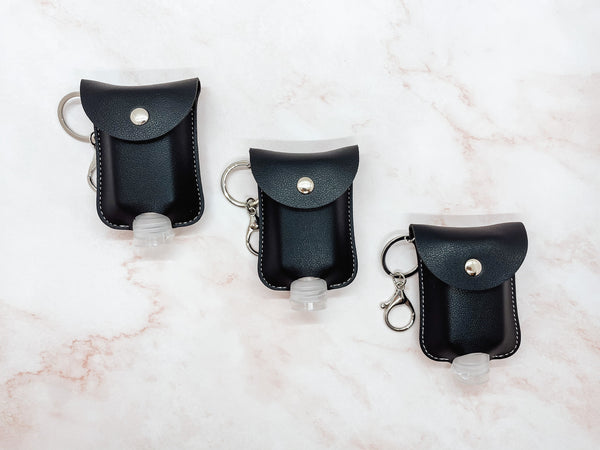 Jet Black Sanitizer Holder Keychain
