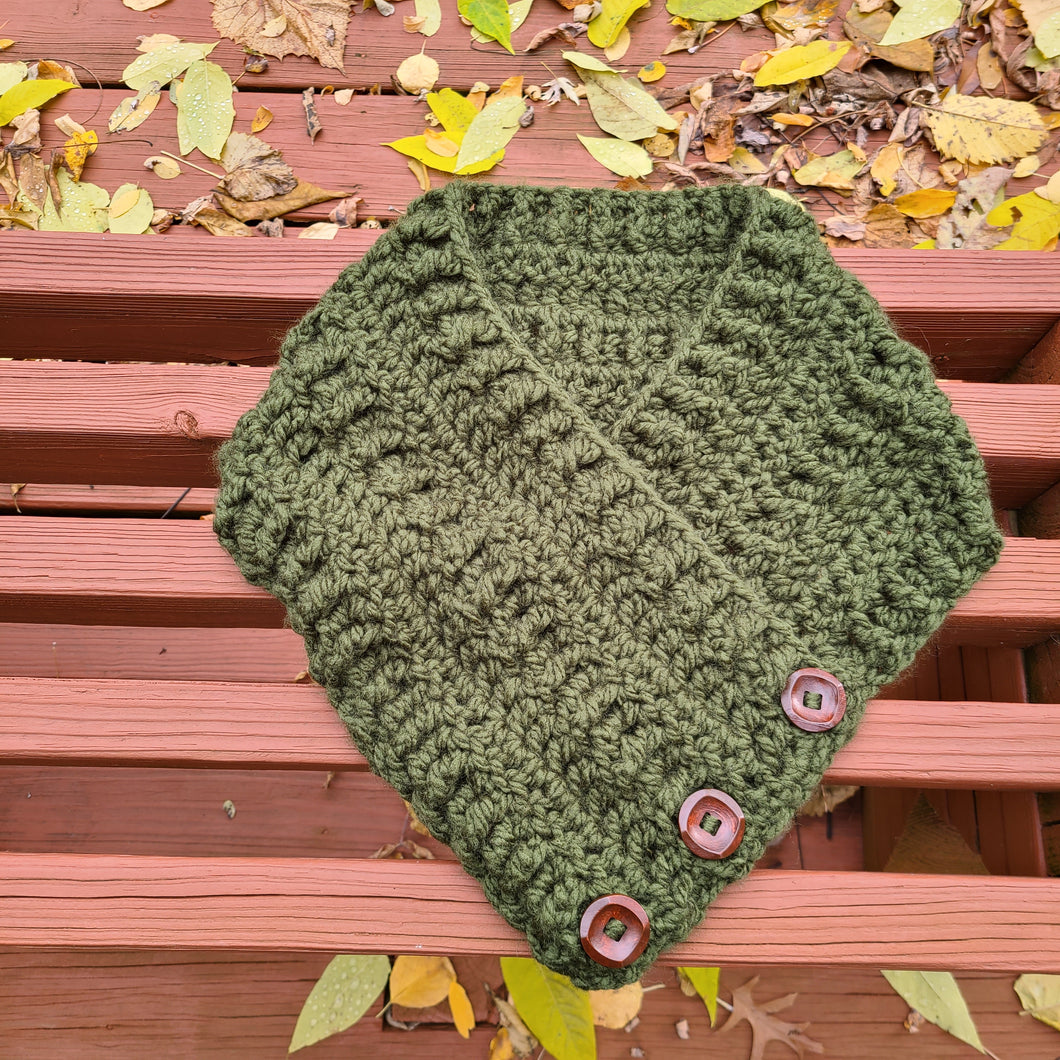 Ready to Ship - Olive Green Button Cowl