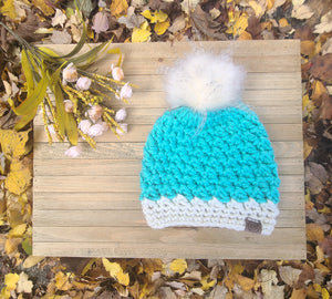 Ready to Ship - Turquoise /Cream Heritage Beanie