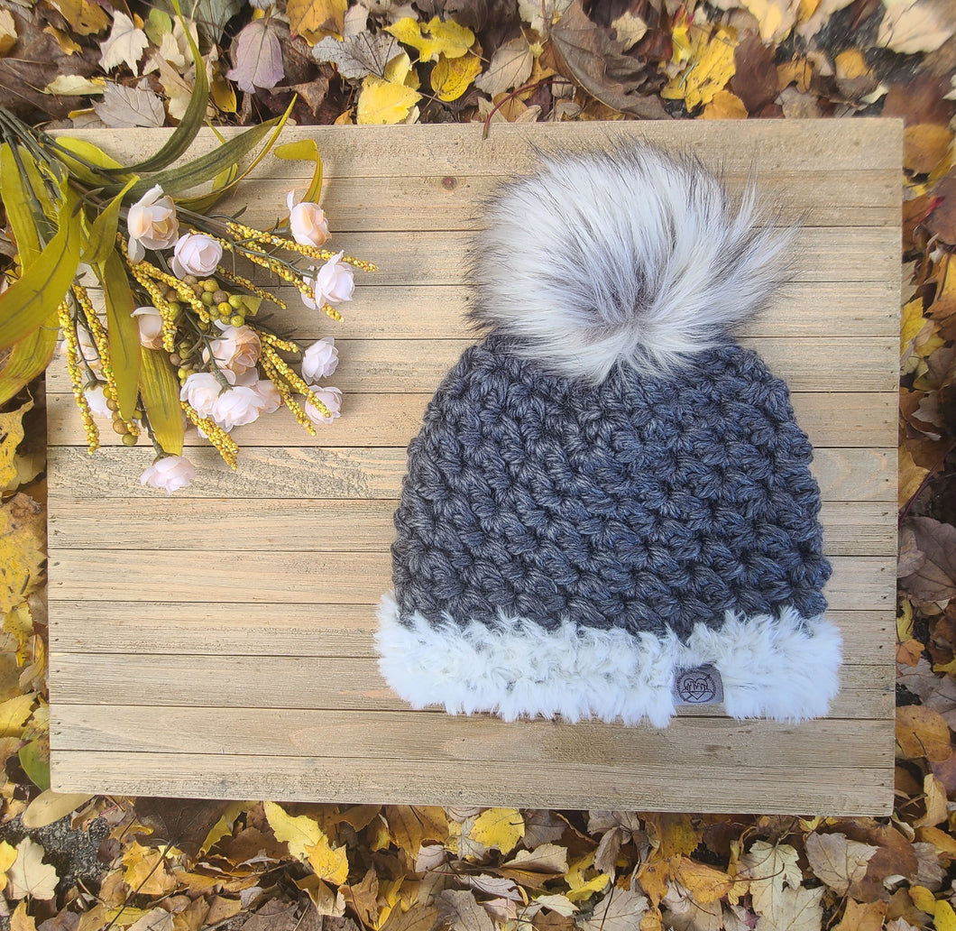 Ready to Ship - Faux Fur trimmed Gray Heritage Beanie