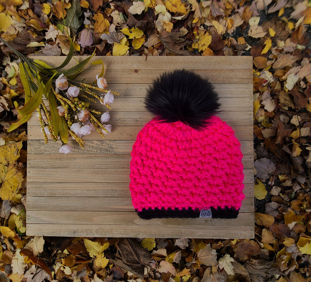 Ready to Ship - Fluorescent Pink/Black Heritage Beanie