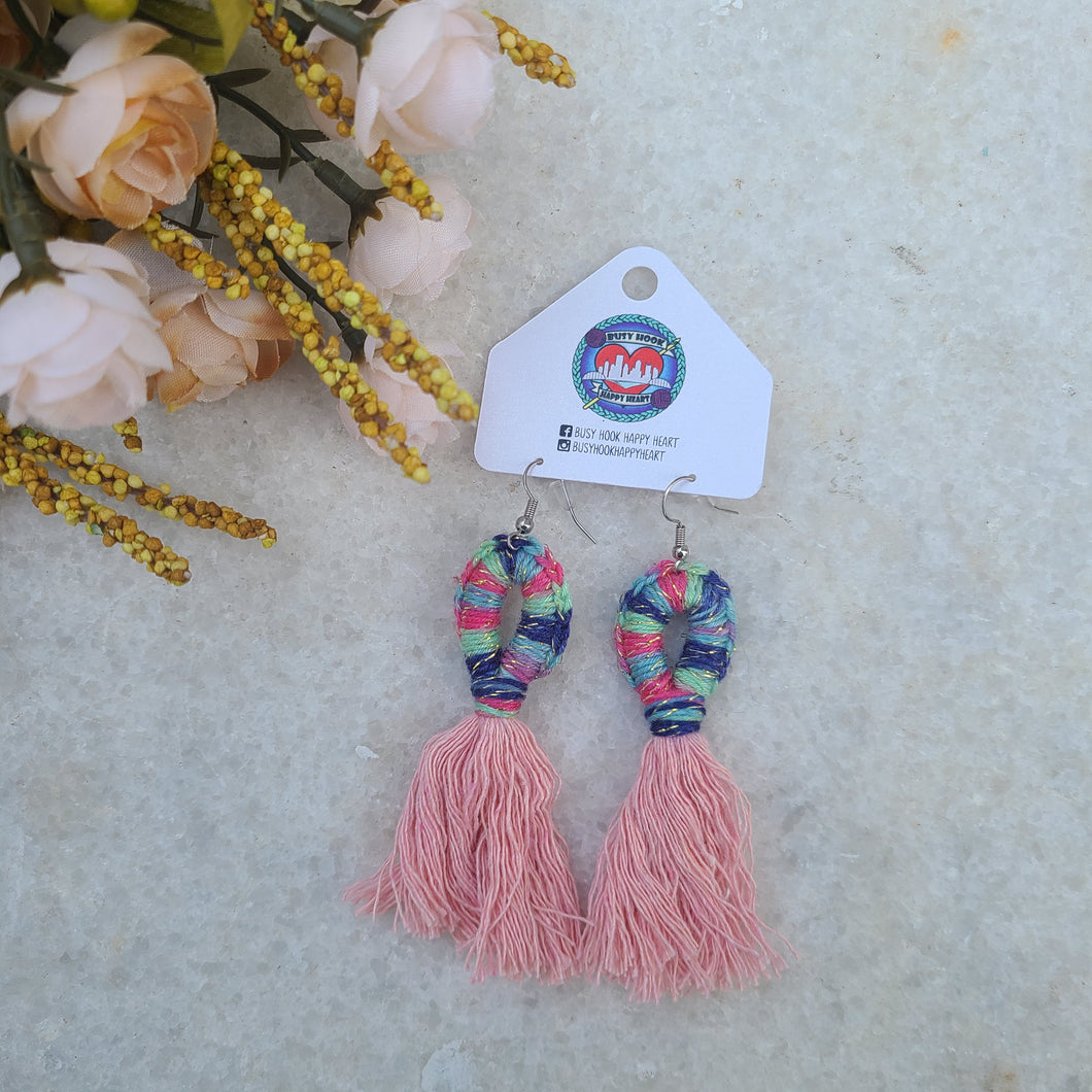 Ready to Ship - Multi-Colored Fringe Earrings