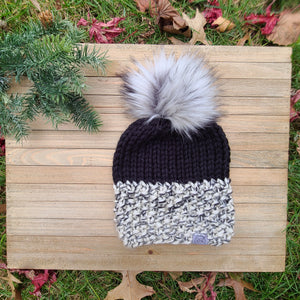 Ready to Ship - Black Two-Toned Lola Beanie