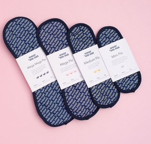 Our pads. We have a selection of pads you can choose from when ordering. Here's a quick summary of each pad  👉 Mini Flo pad is a lightweight daily liner for those barely-there, no-drama period days. Also, perfect for bladder leaks, and non-period days when you just want to feel a little fresher.  👉 Medium Flo pad is your go-to for those in-between, business-as-usual period days and can also be used for leaky bladder days.  👉 Mega Flo pad is your go-to for those heavier-than-usual days or those business-as-usual days, a bit of extra confidence when you need it most.