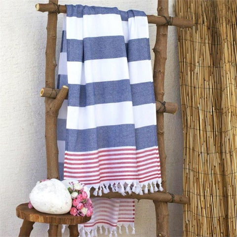 MOROCCAN BEACH TOWEL - RED AND NAVY STRIPES