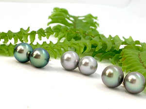 Tahitian Pearl Green Overtone Stud Earrings (left)