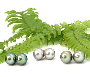Tahitian Pearl Green Overtone Stud Earrings (center)