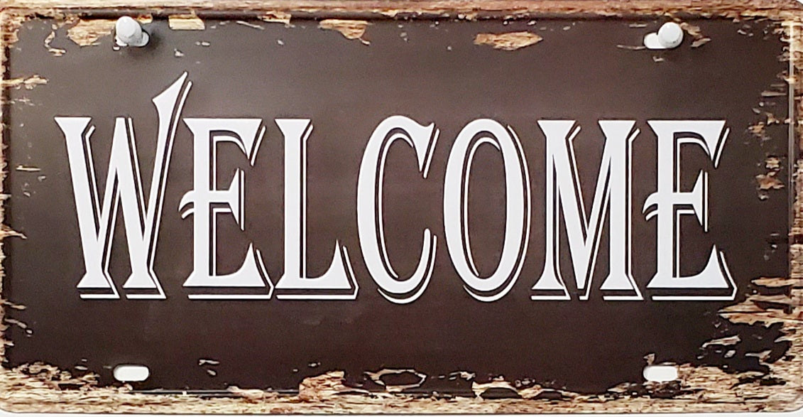 Metal Decorative License Plate (Welcome)
