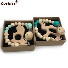 Load image into Gallery viewer, 2pc Baby Teether Organic Wooden Animal Teether Natural Teething Grasping Toy Silicone Bead Toddler Teether Newborn DIY Baby Gift
