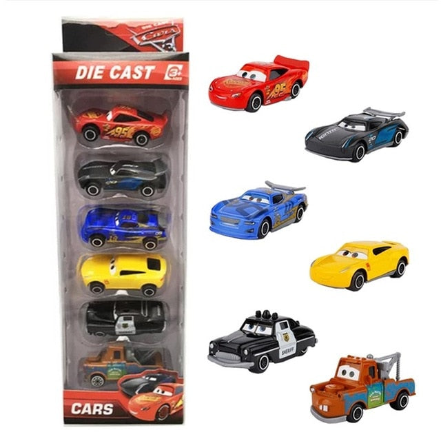 6pcs set Disney Pixar Cars 3 Lightning McQueen 1:55 Diecast Metal Alloy Model
