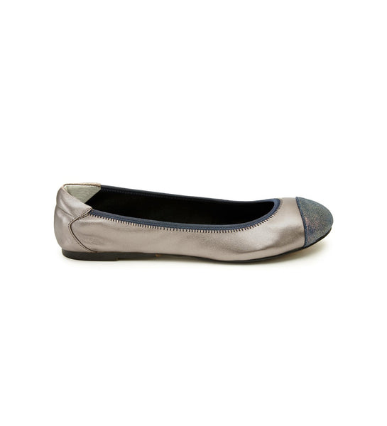 Harrow Foldable ballet flats pewter blue toe