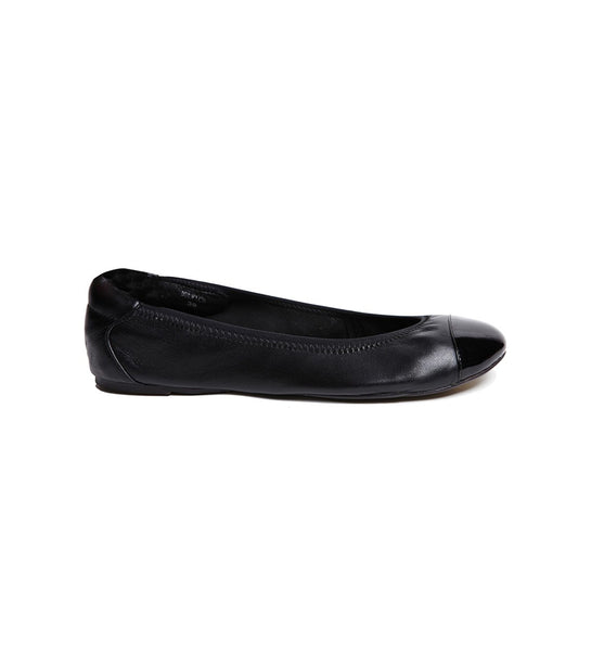 Harrow Foldable ballet flats black patent toe