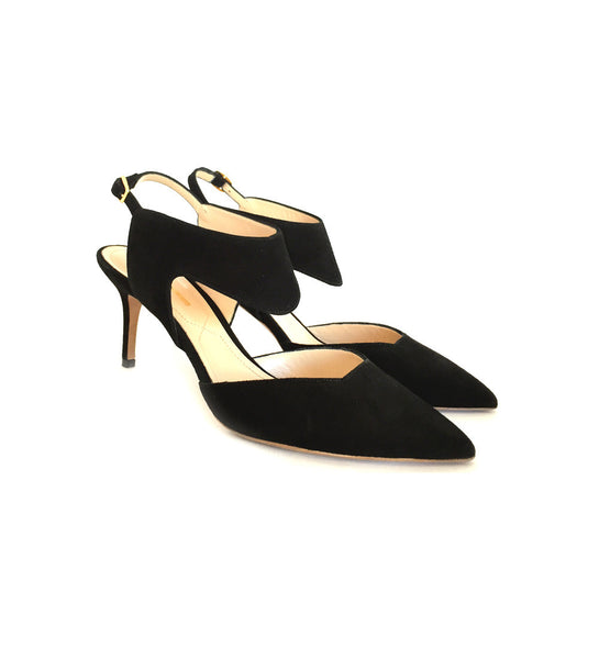 Leda cut out - black suede 70mm