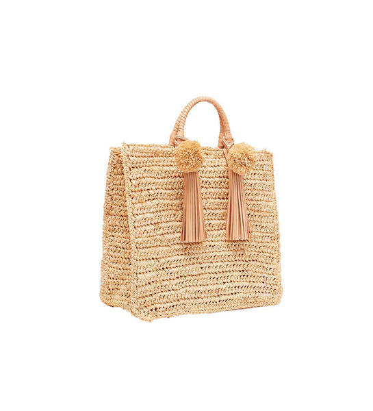 Straw Travel Tote (Raffia Pom/Tassel), natural, one size