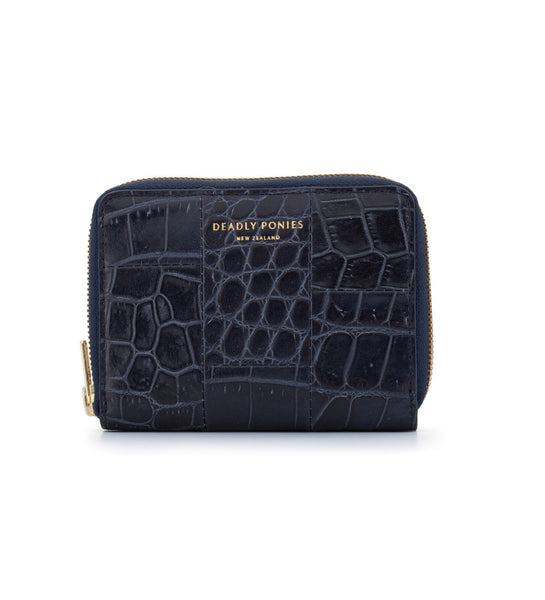 Mini Wallet - Croc Nightshade