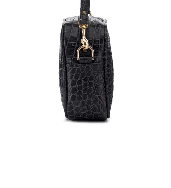Mr Teddy Pannelled croc Black