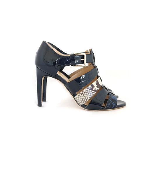 High Strappy Sandal - Blue mix